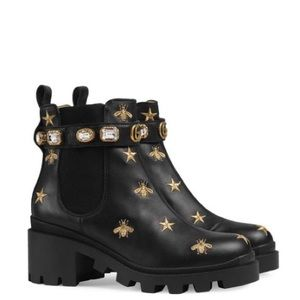 Black Embroidered Leather Ankle Boot With Belt